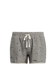 The Upside Maui Embroidered Motif Shorts Grey