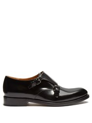 Valentino Double Monk Strap Leather Shoes Black