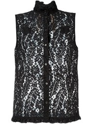 No21 Floral Lace Sleeveless Shirt Black