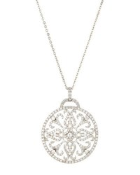 Diana M. Jewels 18K Large Round Diamond Filigree Pendant Necklace 1.98Tcw