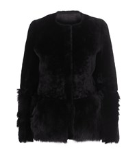 Oscar De La Renta Reversible Suede Shearling Jacket Female Black