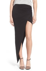 Women's Pam And Gela Ruched Asymmetrical Maxi Skirt Black