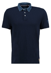 Tom Tailor Fitted Polo Shirt Black Iris Blue