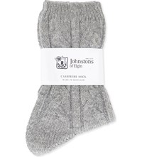 Johnstons Cable Knit Cashmere Socks Ha0200 42 Grey