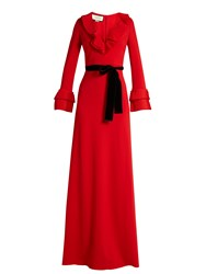 Gucci Frill Trimmed Jersey Gown Red