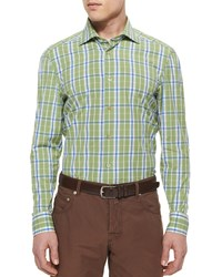 Kiton Large Plaid Woven Shirt Lime Green