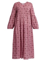 Apiece Apart Ceutas Tiers Geometric Print Cotton Maxi Dress Pink Print