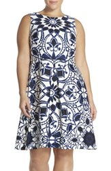 Plus Size Women's Taylor Dresses Mirror Print Scuba Knit Fit And Flare Dress