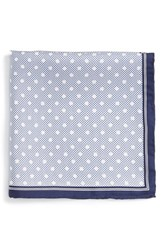 Men's Robert Talbott Dot Print Silk Pocket Square Blue Navy