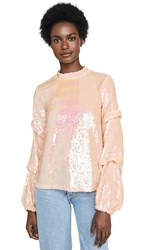 Endless Rose Sequin Tucked Sleeve Top Pink