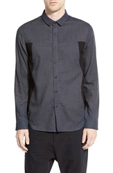 Howe '40 Mill' Mesh Panel Long Sleeve Sport Shirt Dark Grey Wall Street