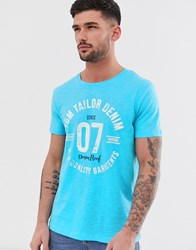 Tom Tailor T Shirt With Logo Print Blue