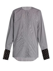 J.W.Anderson Collarless Micro Check Cotton Shirt Black White