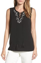Chaus Embroidered Sleeveless Blouse Rich Black