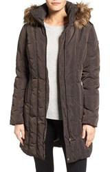Calvin Klein Women's Long Down And Feather Fill Coat With Removable Faux Fur Trim Hood Espresso