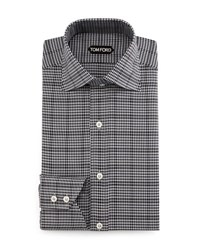 Tom Ford Houndstooth Over Check Dress Shirt Charcoal