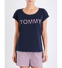 Tommy Hilfiger Logo Appliqued Cotton Jersey T Shirt Navy Blazer