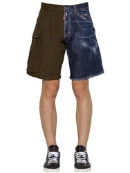 Dsquared Rip Stop Cotton And Denim Boxer Shorts Green Navy