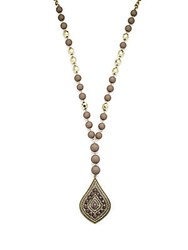Saks Fifth Avenue Beaded Pendant Necklace Brass