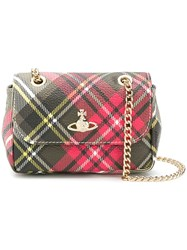 Vivienne Westwood Small Plaid Print Crossbody Bag Red