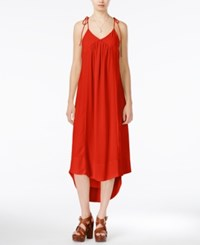 Bar Iii Tie Strap Maxi Dress Only At Macy's Tomato Red
