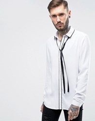 Asos Regular Fit Viscose Shirt With Piping And Neck Tie White