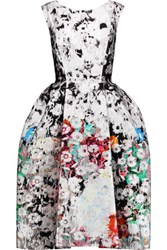Oscar De La Renta Cotton Blend Jacquard Dress Multi