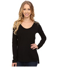 Mod O Doc Supreme Jersey Long Sleeve Scoop Neck Tee W Front Side Slits Black Women's T Shirt