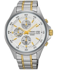 Seiko Men's Chronograph Special Value Two Tone Stainless Steel Bracelet Watch 43Mm Sks479