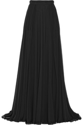 Elie Saab Pleated Silk Chiffon Maxi Skirt Black