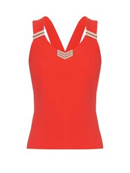 Thierry Mugler Cross Back Stretch Cady Top Red