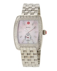 Michele Urban Diamond Stainless Steel Watch Pink