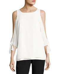 Tahari By Arthur S. Levine Cold Shoulder Knit Blouse Ivory