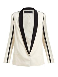 Haider Ackermann Grosgrain Shawl Lapel Twill Blazer Cream Multi