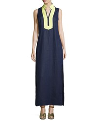 Sail To Sable Classic Linen Sleeveless Maxi Dress Navy Limelight