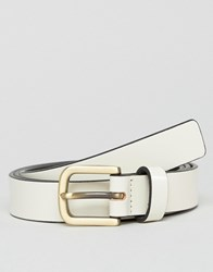 Smith And Canova Skinny Leather Belt In White White