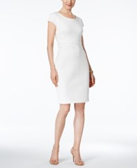 Sangria Cap Sleeve Textured Sheath Dress White