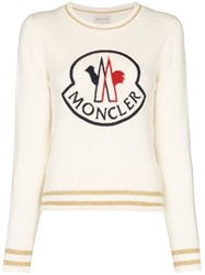 Moncler Logo Embroidered Jumper White