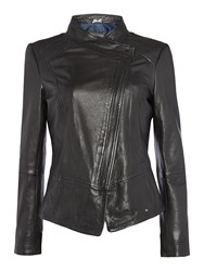 Hugo Boss Zip Up Leather Jacket Black