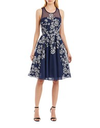 Nicole Miller New York Scoopneck Sleeveless Fit And Flare Dress Navy Silver