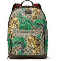 Gucci Leather And Webbing Trimmed Printed Coated Canvas Backpack Brown