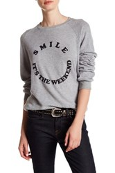 Project Social T Smile It's The Weekend Front Graphic Print Pullover Gray