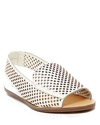 Dolce Vita Open Toe Perforated Slingback Flat Sandals Lisco Off White