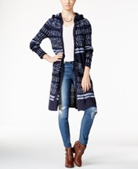 Hooked Up By Iot Juniors' Hooded Midi Cardigan Midnight Blue Denim Space Dye Combo