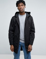 Only And Sons Fish Tail Parka With Zip Split Hood Black