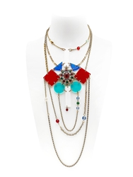 Maria Zureta Rainbow And Gold Chain Necklace