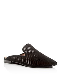 Frye Gwen Perforated Nubuck Mules Black