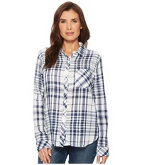 Dylan By True Grit Fresh White And Denim One Pocket Plaid Luxe Double Cloth Shirt White Denim Long Sleeve Button Up