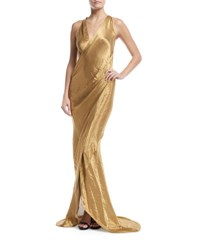 Urban Zen Metallic Sleeveless Wrap Front Gown Gold