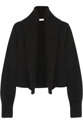 Donna Karan Ribbed Knit Wool And Cashmere Blend Cardigan Black